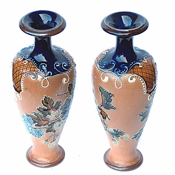 A pair of 10in Royal Doulton floral vases by Florence Roberts - 5816