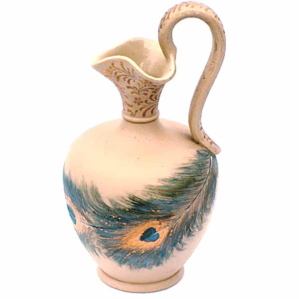 Florence Barlow -  A Doulton Lambeth Silicon ware ewer with a peacock's feather – 831