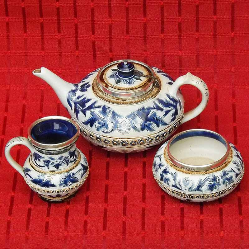 Edith Kemp- a Doulton Lambeth 3-piece tea set