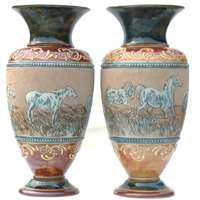 A pair of 35cm vases by Hannah Barlow